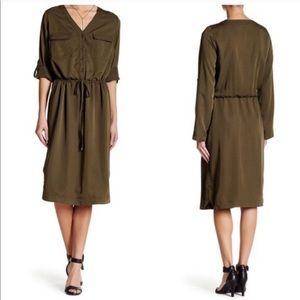 Max Studio Woven Shirtdress Olive Green Henley